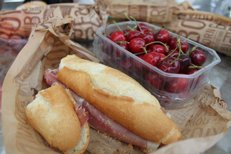 Jamon y Butter Sandwich paired with cherries bought for super cheap at the market!