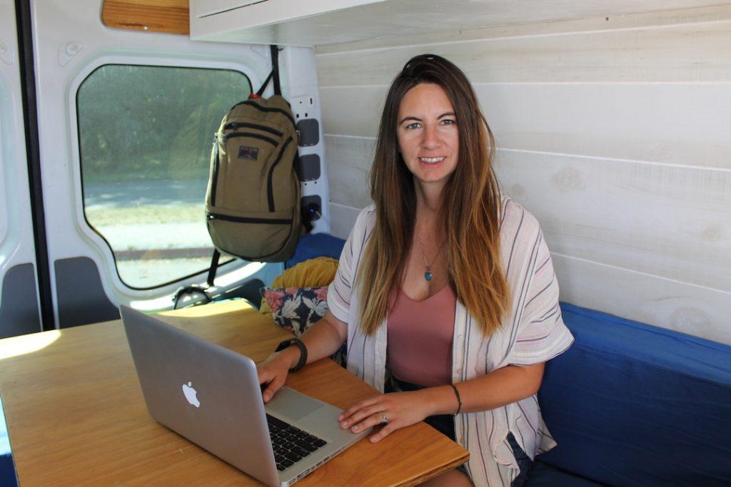 Brie Goumaz in Converted Sprinter Van: Starting Vanlife remote work