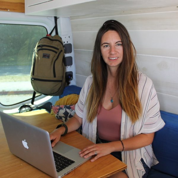Brie Goumaz in Converted Sprinter Van: Starting Vanlife remote work