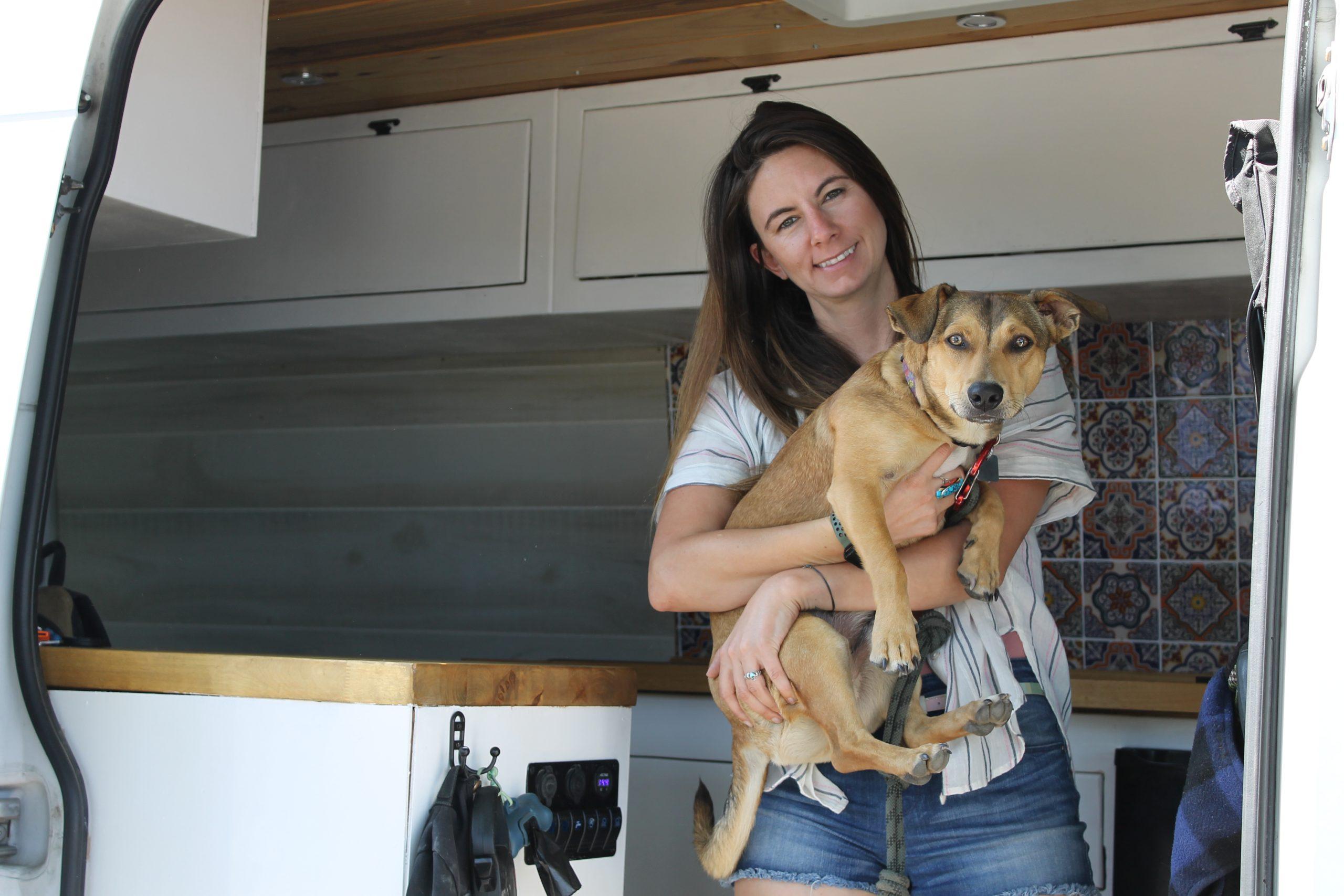 Brie Goumaz in Sprinter van:vanlife Packing list